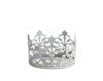 Silver Crown Cake Topper, Mini Crown, handpainted and distressed crown - Baby Jane