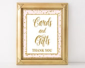 Cards and Gifts Printable Sign, Pink & Gold Glitter Shower Table Sign, Wedding, Baby Shower Sign, 2 Sizes, INSTANT DOWNLOAD