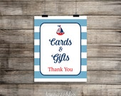 Cards & Gifts Printable Sign, Little Sailor Baby Shower Sign, 2 Sizes, Gift Table Sign, Nautical Red, White and Blue, INSTANT DOWNLOAD