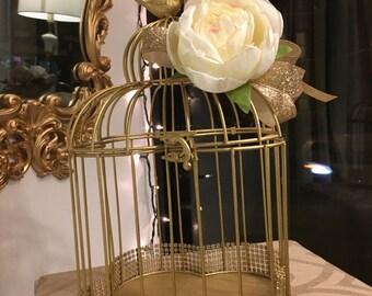 Gold Bird Cage - Card Holder