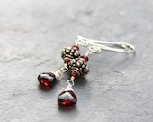 Sterling Silver Garnet Earrings Bali Beads Red Stones, Petite January Birthstone Dangle Earrings