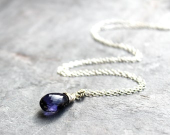 Iolite Jewelry Iolite Necklace Focal Teardrop, Blue stone Necklace, Sterling Silver Water Sapphire