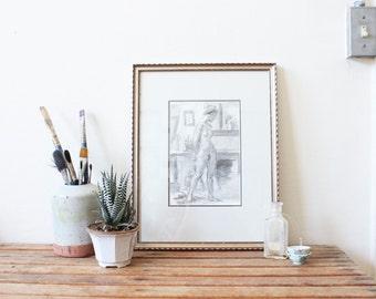 vintage framed nude sketch