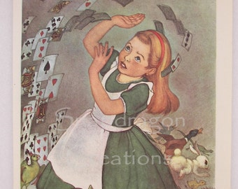 Vintage Alice in Wonderland Illustration, Alice and Flying Cards, Margorie Torrey, 1960's, Dandelion Library, Frameable Print