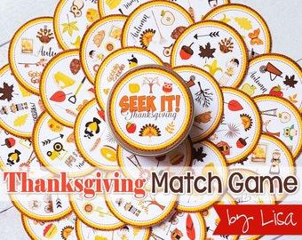 Thanksgiving SEEK IT Match Game, Thanksgiving Printables, Party, Family Game Night, Matching ...
