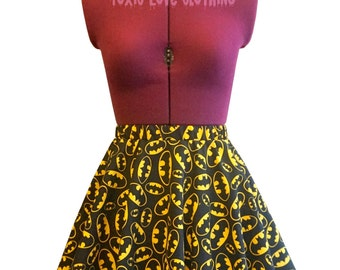 Batman Circle Skirt (womens size 4 - 22) MINI or MIDI length - skater skirt, fandom, plus size, mini skater skirt, midi, superhero, party