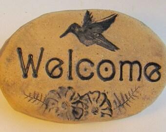 Hummingbird welcome sign, Small garden accent. Hummingbird Garden art, Stone garden decor.