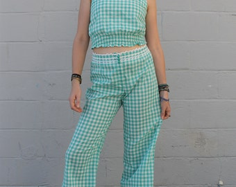 Vintage 1960's Junior House Gingham Checkered Two Piece Set