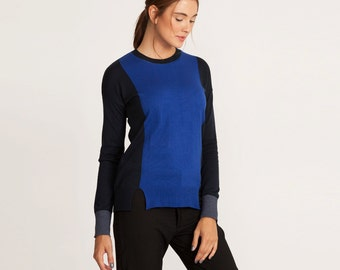 Black and blue winter top, fit blouse,black and blue cardigan, sweater, knitted pullover, long sleeves, Round neck sweater