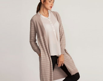 Pink stripes long jacket, loose fit open jacket, knee length jacket, winter sale, knitted cardigan, long sleeves, minimal style, pink top