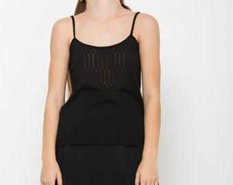 Semi sheer top, summer top, black Sleeveless top, knitted top, black blouse,  spaghetti strap, black knit top, sleeveless casual shirt, sale