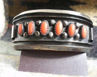 Vintage CORAL Petit Point Cuff Bracelet Sterling Silver NAVAJO Zuni Southwestern Native American Indian Made Jewelry
