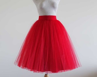 Red  Tulle skirt. Tulle skirt.Women tulle skirt. Tutu skirt. Adult tutu skirt. Tea length tulle skirt