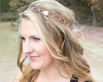 Beaded Beach Headband - Coral Salmon Pink - Gold - Fish Headband - Resort Vacation Hair Piece - Halo - Tie Headband - Destination Wedding