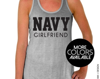 Navy Girlfriend Tank Top - Flowy Tank Top - Black Ink