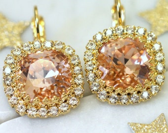 Blush Bridal Earrings,Swarovski Blush Earrings,Blush Bridal Drop Earrings,Bridesmaids Earrings,Pave Blush Earrings,Blush Bridal Earrings