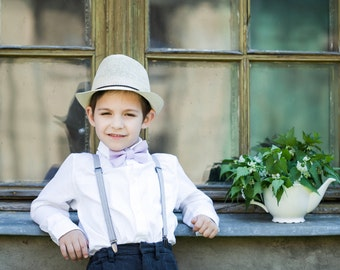 Lilac bow tie - Pastel lavender bowtie - Boy's linen bow tie - Wedding ring bearer bow tie - Toddler boy bowtie  - Groomsmen bowties