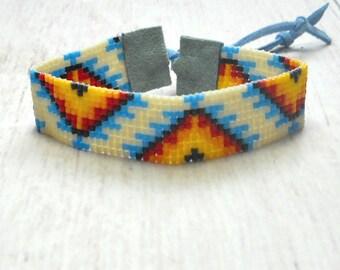 Bead Loom Bracelet - Tribal Seed Bead Bracelet - Womens Bracelet - Adjustable Bracelet -Boho Bracelet - Native American Womens Bracelet