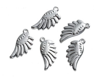 2 Stainless Steel Wing Charms 2 Sided Angel Wing - MT398