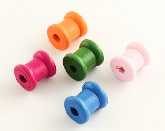 10 Mini Spools Wooden Spool Great for Sewing Inspired Designs Just Too Cute Assorted Colors - BD32