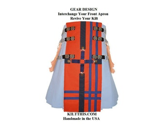 Interchangeable Utility Kilt Front Apron Sold Separately - Gear Design - Orange with Blue Cross n Stripes - Conchos