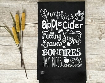 Tea Towel - Chalkboard Tea Towel Autumn Tea Towel Fall Tea Towel Kitchen Towel Tea Towel Fall Decor Farmhouse Autumn Decor Pumpkin Towel