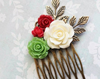 Rose Bridal Hair Comb Bright Leaf Green Bridesmaids Gift Red Rose Comb Floral Hair Piece Beach Fashion Colorful Wedding Spring Garden