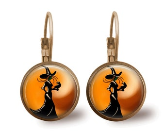 Halloween Jewelry Halloween Earrings Witch Earrings Witch Jewelry Brass Jewelry Holiday Jewelry Orange Jewelry Brass Earrings Black Jewelry