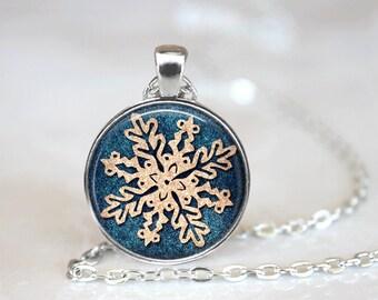 Christmas Necklace Christmas Jewelry Glass Tile Necklace Snowflake Jewelry Snowflake Necklace Silver Jewelry Glass Tile Jewelry