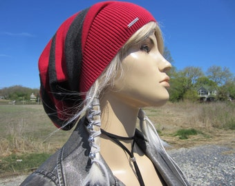 Saggy Hat Striped Red Gray Slouch Beanie Hat Wide Stripe Slouchy Cotton Knit Dreadlock Dread Tam A1457-R