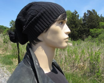 Thick Black Slouchy Beanie Hat  Cotton Cable Tam Extra Long Warm Winter Knit Hat Leather Tie back Tube for Men A922