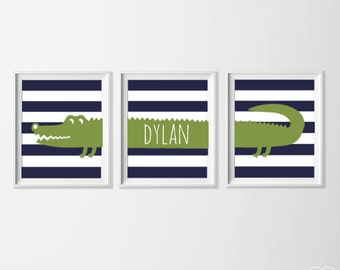 Alligator Personalized Nursery Art, Safari Alligator Nursery Wall Art, Alligator Set of 3, Safari Kids Decor Alligator, Green Navy Name