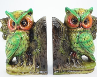 Vintage Owl Bookends Ceramic In Original Box Mid Century Modern Japan