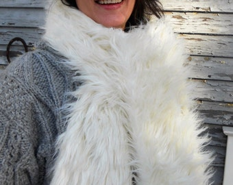 """Scarf - Faux Fur - one size fits all - fleece lining - white 2"""" faux fur - 75"""" X 6"""""""