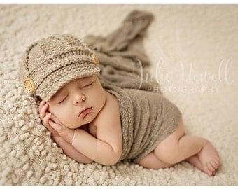 Baby Boy Hat - Baby Newsboy Hat - Baby Hat - Baby Boy Photo Prop Hat - Boy Newsie Hat - Oatmeal Newsboy - by JoJosBootique