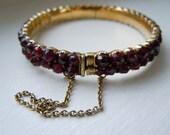 Two-Tier Antique Victorian Garnet Bracelet or Bangle, 8KT Gold or Tombac