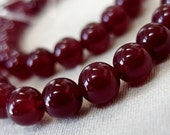 TWO STRANDS 6mm Deep Rose Agate Round Stone Beads, full strand, 15 inches, 64 beads