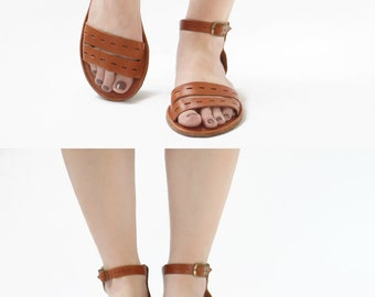 Sandals Handmade Leather - Cut Here in Tobacco brown - CUSTOM FIT
