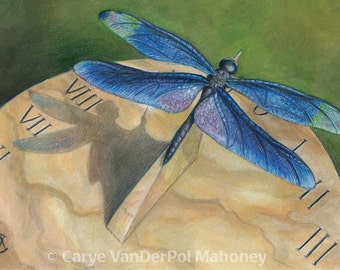 """Blue dragonfly resting on a marble sundial casting a shadow that looks like a fairy - Art Reproductions (Print) - """"Secret of the Sundial"""""""