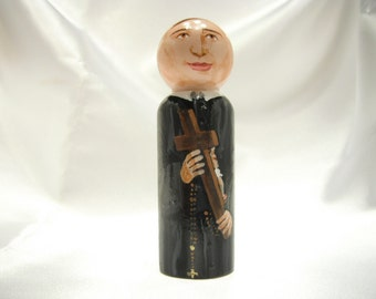 Saint Gerard Majella - Catholic Saint Wooden Peg Doll Toy - made to order