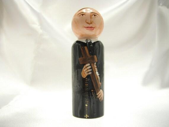 Saint Gerard Majella - Catholic Saint Wooden Peg Doll Toy - made to order