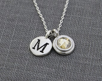 Mothers Necklace, Initial Jewelry, Citrine Necklace,  November Birthday New Mom Jewelry, Family Necklace, Silver Birthstone Initial Necklace