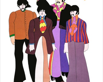 """The Beatles - Yellow Submarine characters - 11""""x14"""", 16""""x20"""" or 22""""x28"""" - The Beatles - 60's pop art Psychedelic Poster art"""