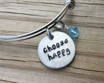 """Happiness Inspiration Bracelet- Hand-Stamped """"choose happy"""" Bracelet with an accent bead in your choice of colors- Hand-Stamped Jewelry"""