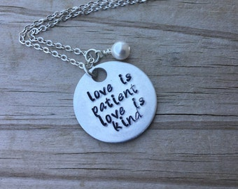 "Love is Patient Necklace- Hand-stamped ""love is patient love is kind"" with an accent bead in your choice of colors"