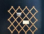 vintage large accordion wood peg wall hanging rack // hat display storage // organizer