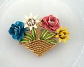 Crown Trifari Flower Basket Brooch Enamel and Rhinestones Signed