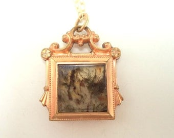 Antique Rose Gold Filled Watch Fob Pendant Horseshoe Moss Agate and New GF Chain Necklace