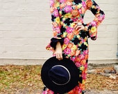 fluttery bell sleeve floral bohemian black and pink penny lane almost famous style maxi dress angel sleeve festival dress petite xs hippie