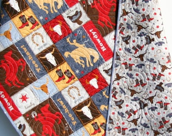 Cowboy Western Quilt, Bucking Horse, Cow Skull Howdy Boots, Brown, Horseshoes Boots Roping Saddle, Boy or Girl Crib Bedding Quilt